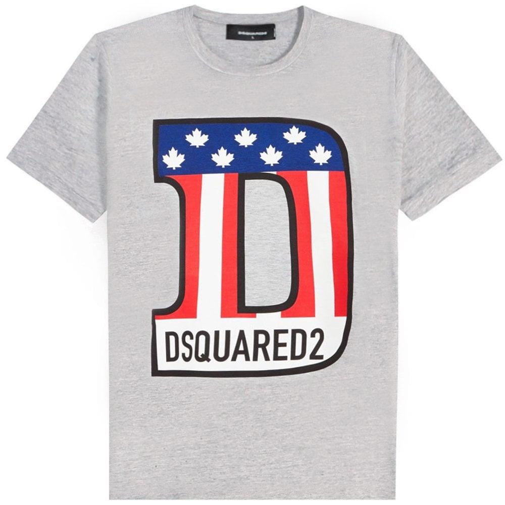 DSquared2 D Patriot Logo T-Shirt Colour: GREY, Size: MEDIUM