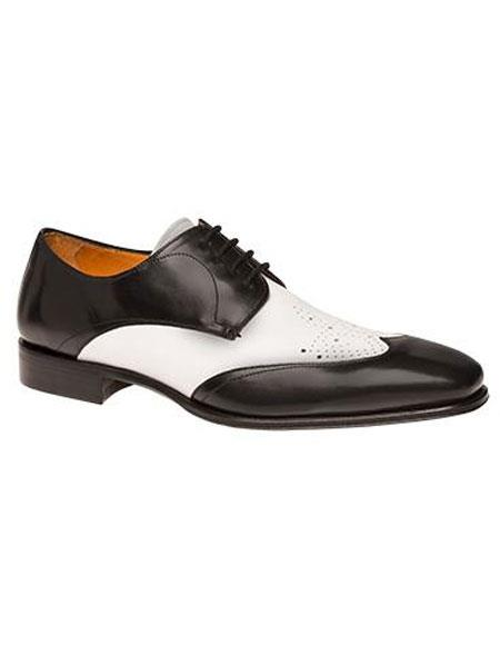 Mens Black/White Calfskin 2Tone Wingtip Lace Up Leather Shoes Brand
