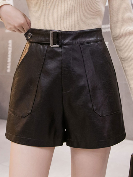 Milanoo Women\\'s Shorts Casual Pockets PU Leather Black Shorts