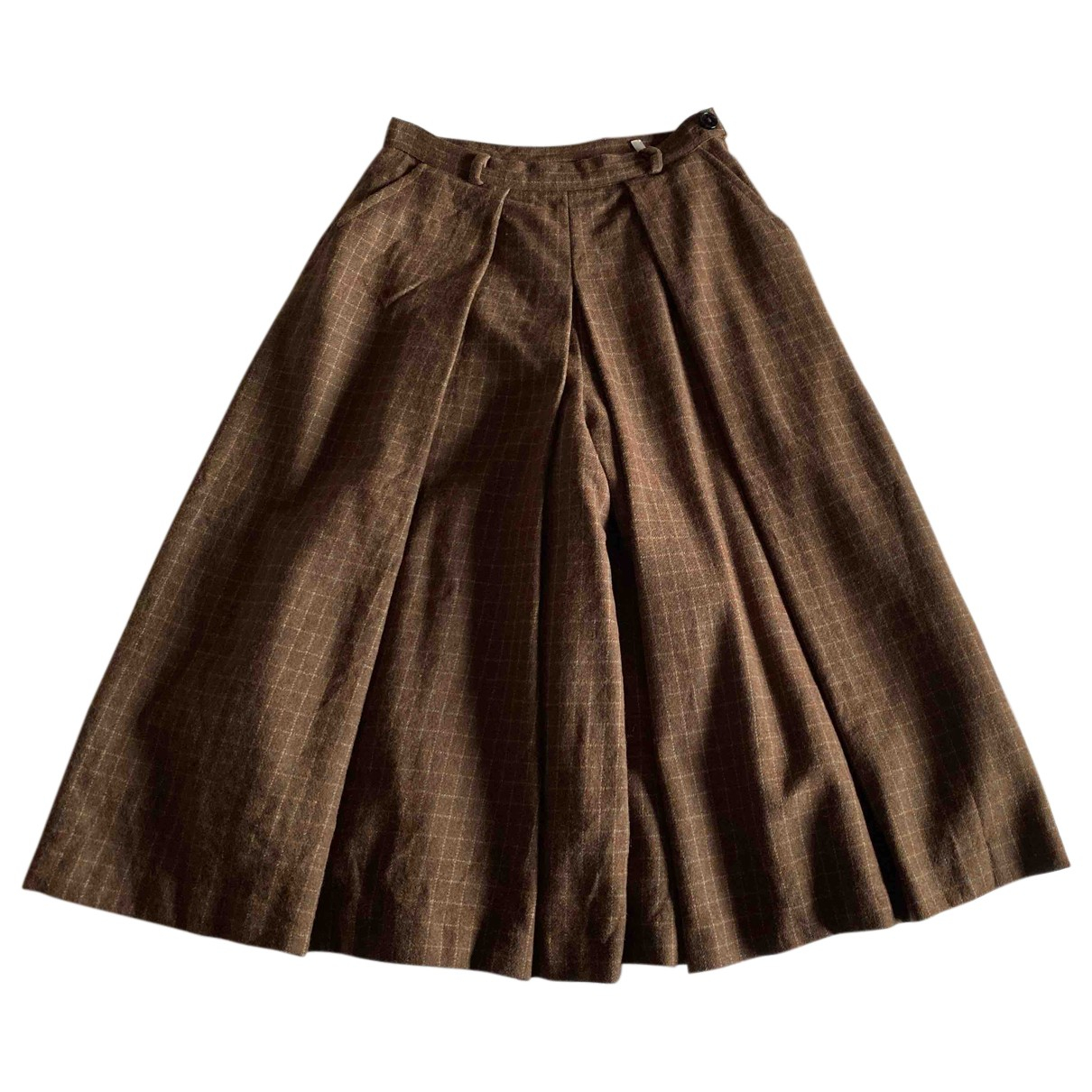 Non Signé / Unsigned N Brown Wool skirt for Women 40 IT