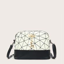 Bolsa bandolera con diseño de ciervo con estampado geometrico