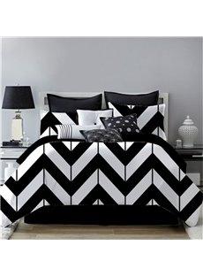 Zigzag Graphics Design Black&White Printing 4-Piece Polyester Bedding Sets/Duvet Cover