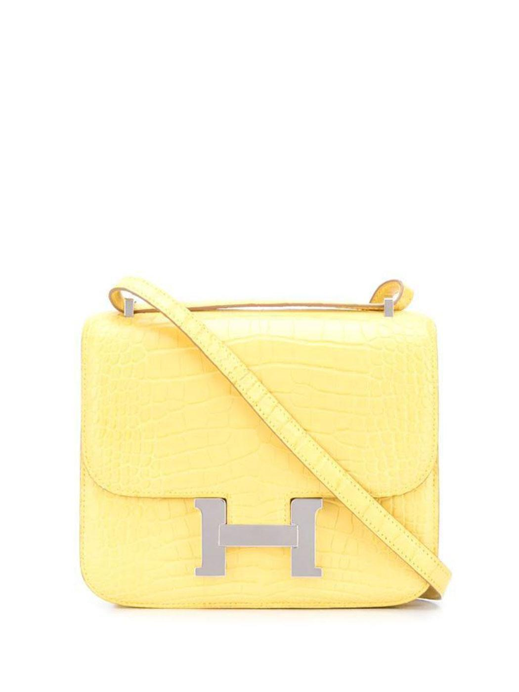Hermes Yellow Mimosa Alligator Constance Bag