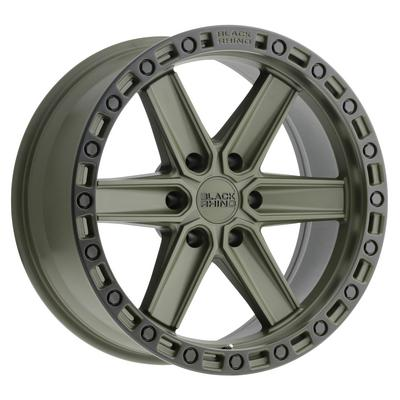 Black Rhino Henderson Wheel, 17x9 with 6x139.70 and 6x5.5 Bolt Pattern - OD Green with Black Lip Edge and Black Bolts - 1790HDS-26140N12