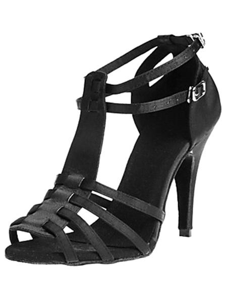 Milanoo Black Dance Sandals Cut Out Satin Heels for Women