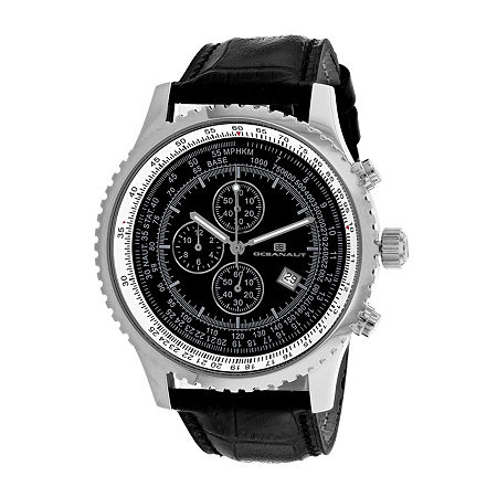 Oceanaut Mens Black Leather Strap Watch-Oc0312, One Size , No Color Family