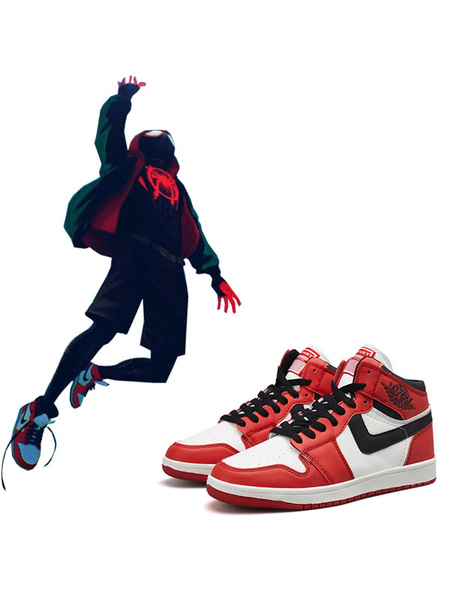 Milanoo Halloween Carnaval Zapatos De Anime Cosplay De Spider Man Into The Spider Verse Miles Morales Calzado Deportivo De Cuero Halloween