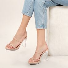 Strappy Toe Ring Lucite Heel Sandals
