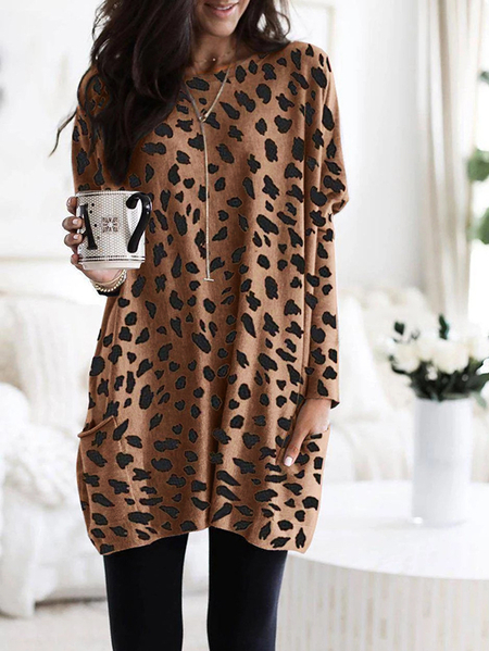 Yoins Brown Leopard Pocket Design Long Sleeves Tee