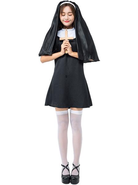 Milanoo Disfraz Halloween Disfraces de Halloween Monja de mujer Vestido de sombreros negros Poliester Disfraces de fiestas de Halloween Carnaval Hallo