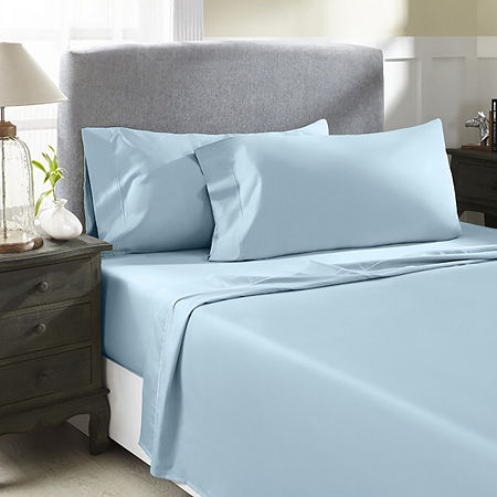 Perthshire Platinum 1000tc Cotton Sateen Sheet Set, One Size , Blue