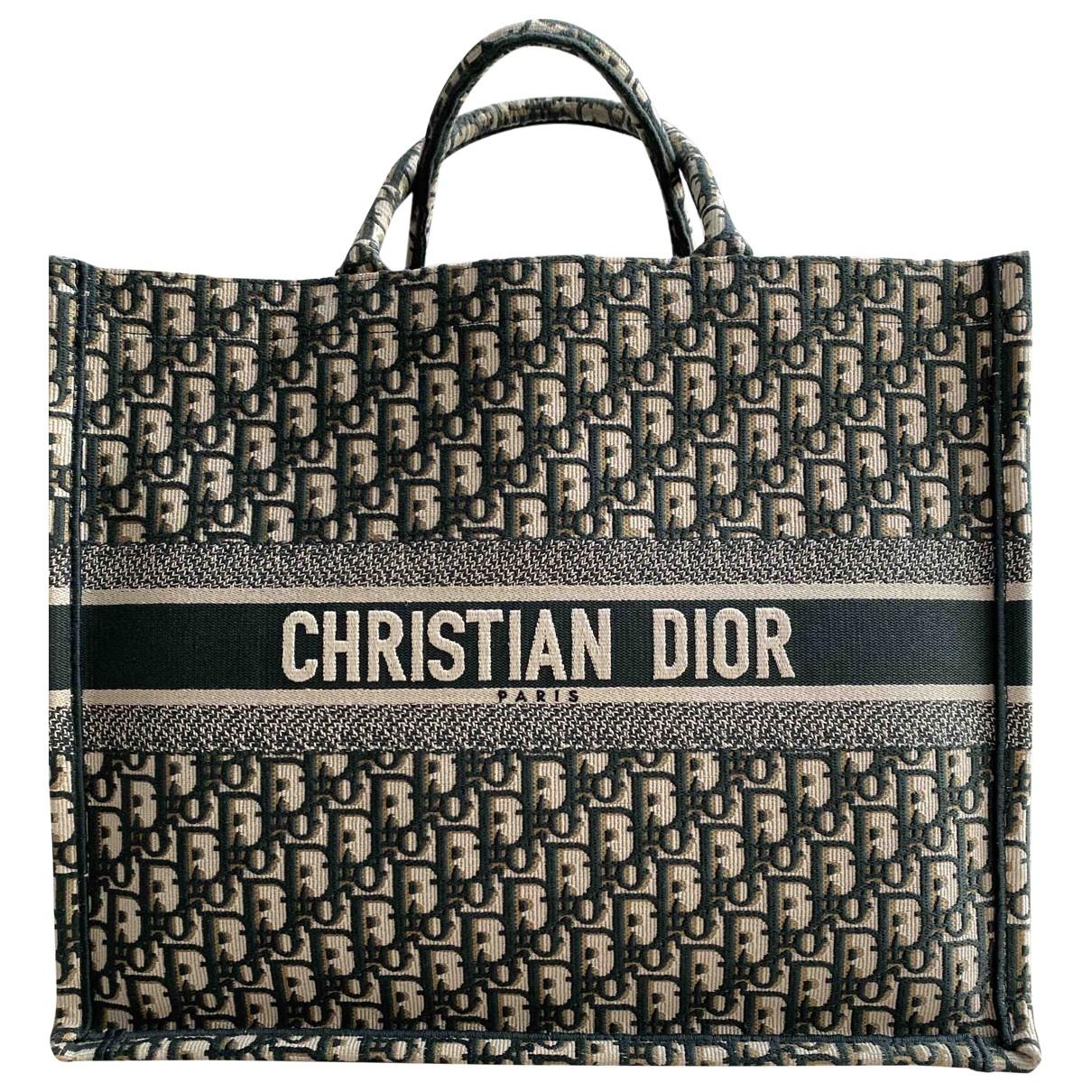 Dior Book Tote Handtasche in  Gruen Leinen