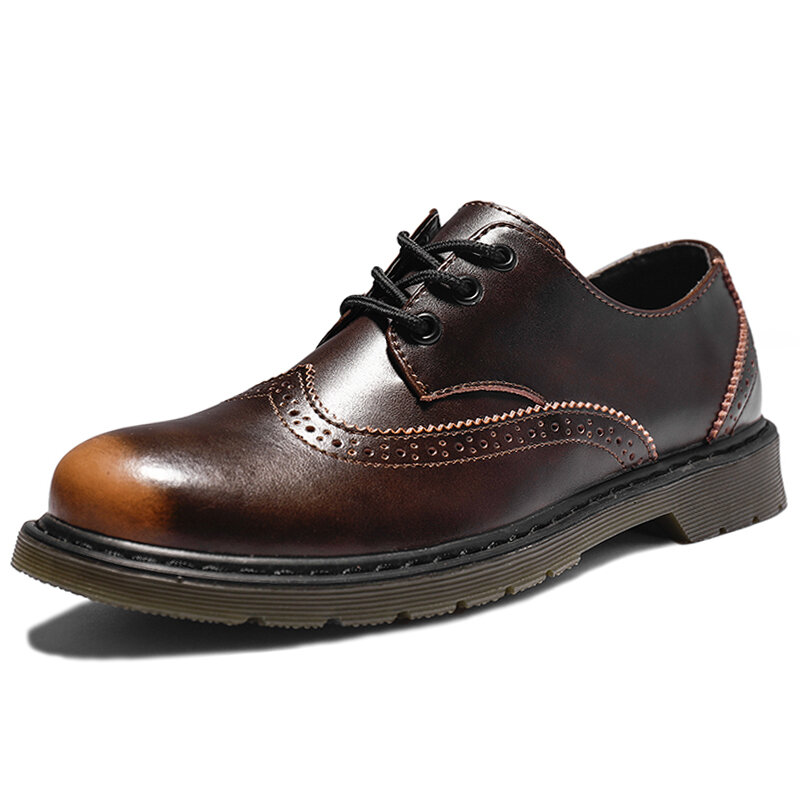 Men Brogue Round Toe Slip Resistant Cow Leather Work Style Shoes
