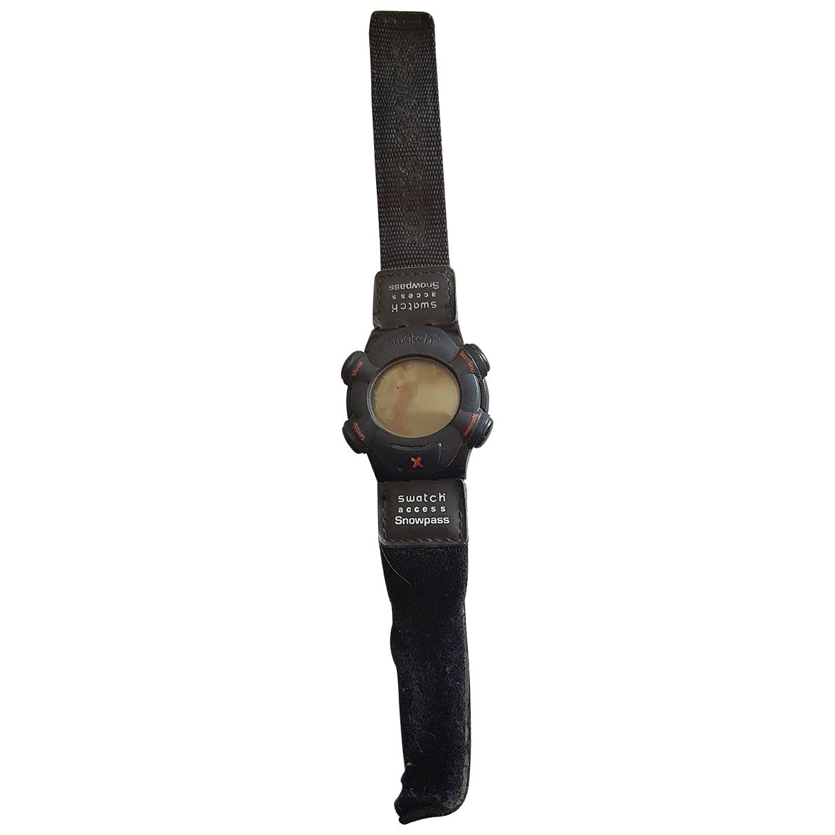 Swatch \N Uhr in  Schwarz Kautschuk