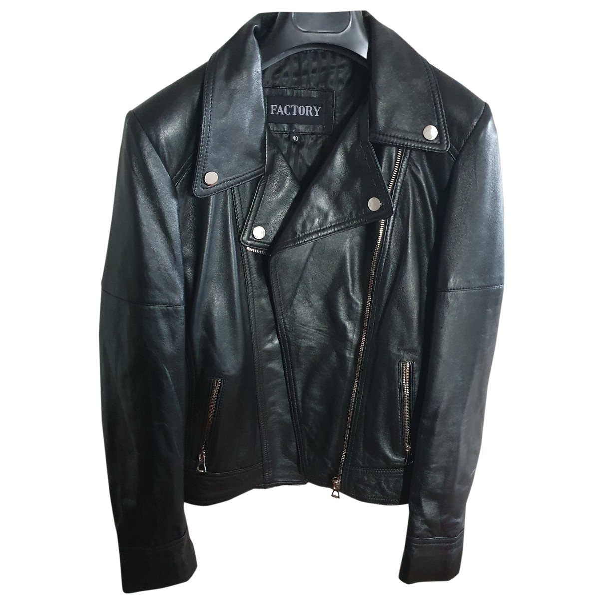 Non Signé / Unsigned \N Black Leather jacket for Women 38 FR