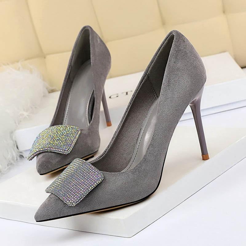 Ericdress Rhinestone Faux Suede Slip-On Stiletto Heel Women's Pumps