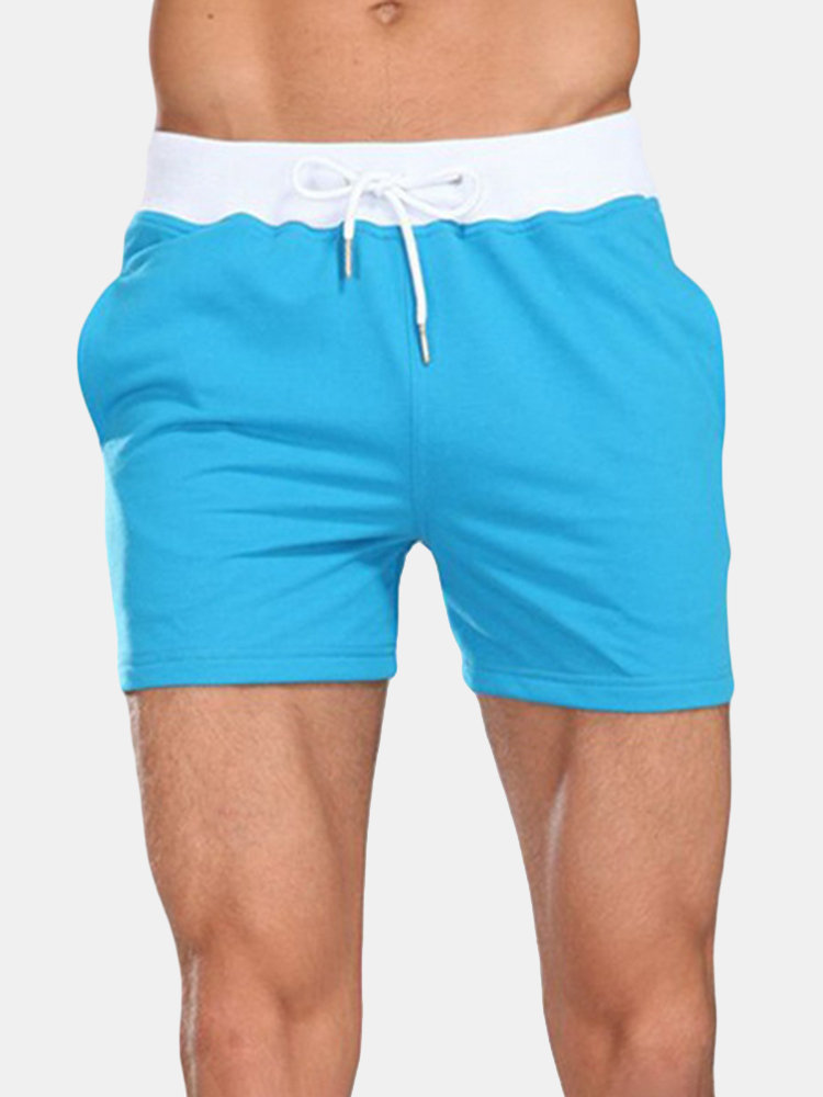 Mens Summer Breathable Cotton Casual Home Shorts Drawstring Jogger Shorts Gym Shorts