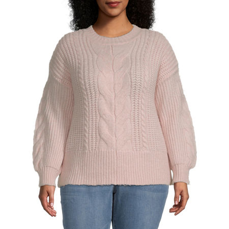 a.n.a-Plus Womens Crew Neck Long Sleeve Pullover Sweater, 2x , Pink