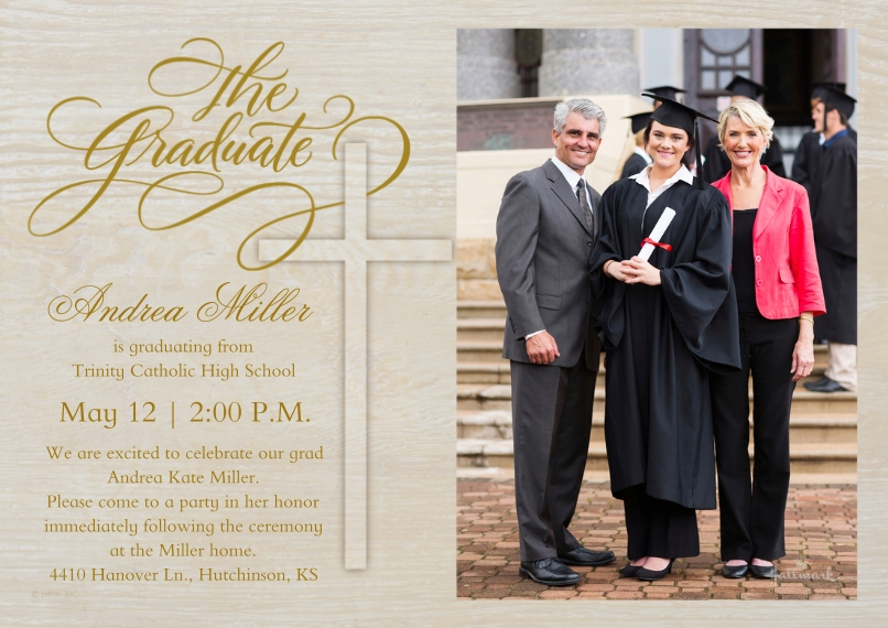 Graduation Invitations 5x7 Cards, Premium Cardstock 120lb with Rounded Corners, Card & Stationery -The Graduate Woodgrain Cross