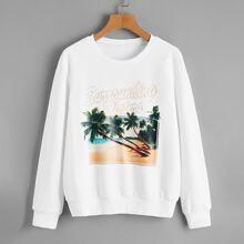 Letter & Tropical Print Sweatshirt