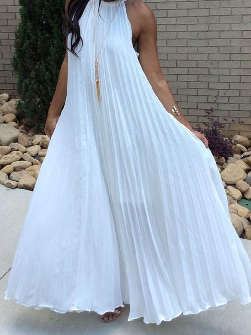 Ericdress Sleeveless Pleated Ankle-Length Casual Halter Dress