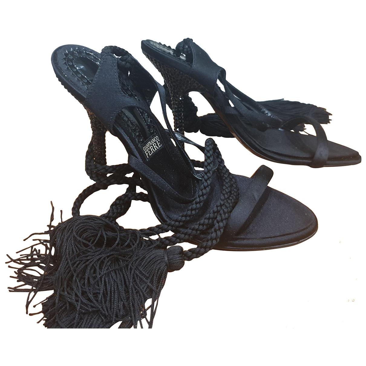Gianfranco Ferre - Sandales   pour femme en cuir - noir