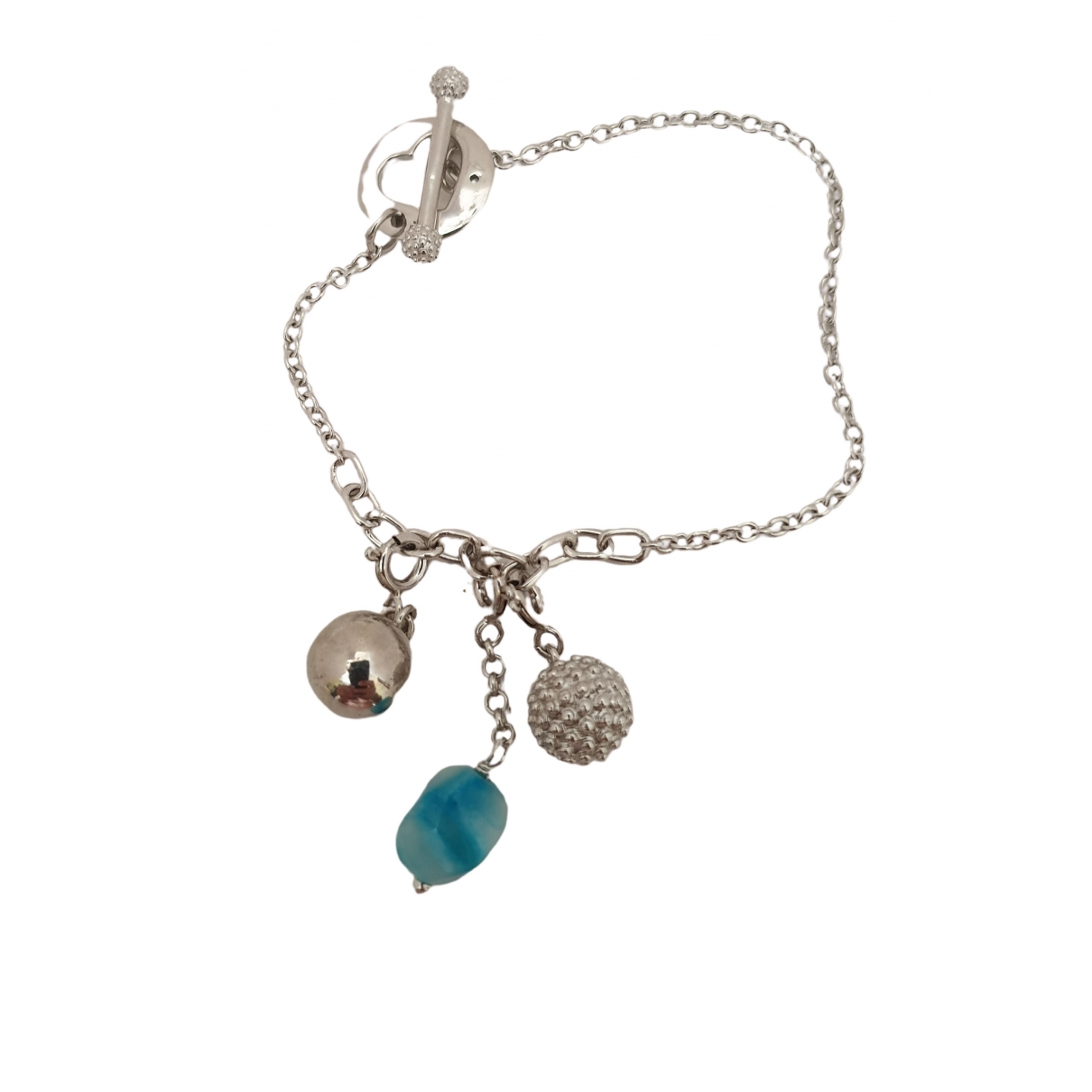 Non Signe / Unsigned Gourmette Armband in  Silber Silber