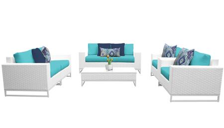 Miami MIAMI-07c-ARUBA 7-Piece Wicker Patio Furniture Set 07c with 1 Coffee Table  2 Club Chairs  2 Left Arm Chairs and 2 Right Arm Chairs - Sail