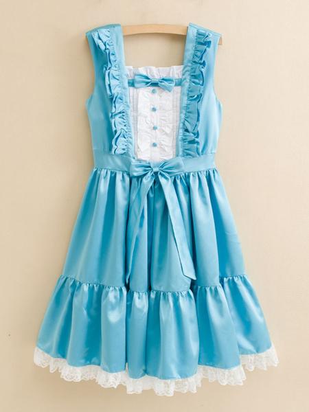 Milanoo Falda de Lolita estilo dulce Tela Saten sin mangas con escote cuadrado de color-blocking para ocasion informal
