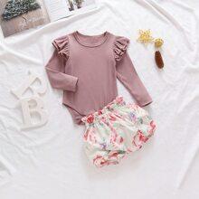 Body mit mehrschichtigen Rueschen & Shorts mit Blumen Muster