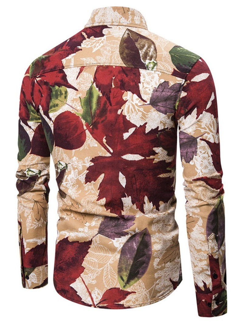 Ericdress Plant Lapel Print Fall Single-Breasted Men's Shirt