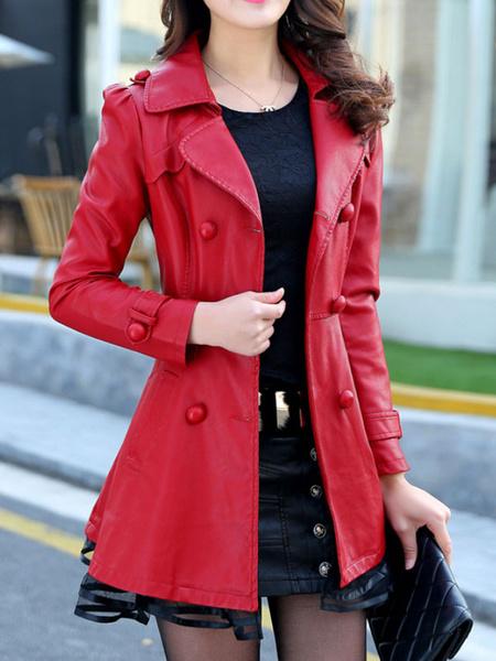 Milanoo Abrigo de invierno para mujer Cuello vuelto rojo Chaquetas de cuero PU de manga larga