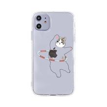 Cute Cat Print Clear iPhone Case