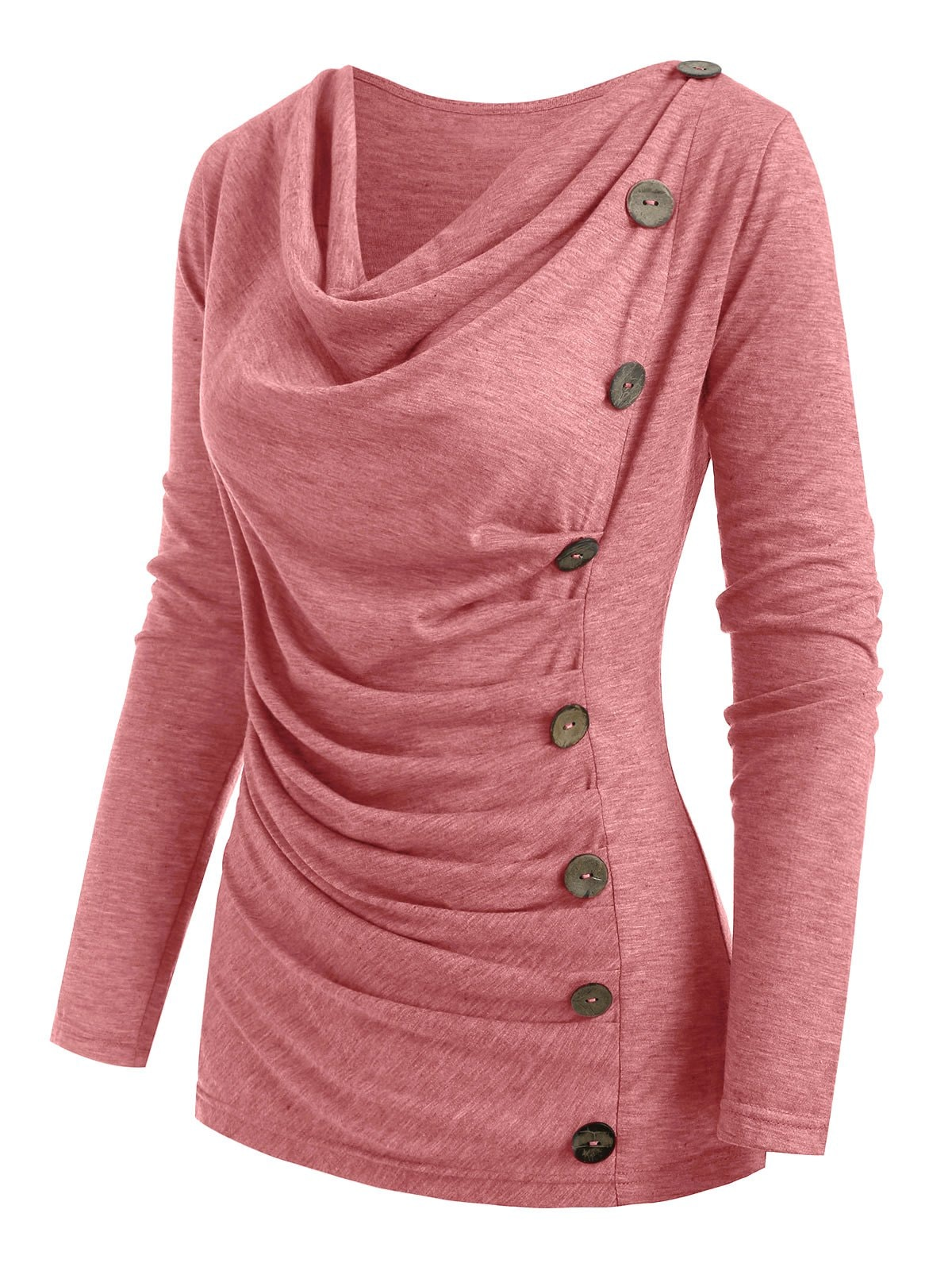 Cowl Neck Heather Mock Button T-shirt