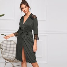 Contrast Lace Belted Robe