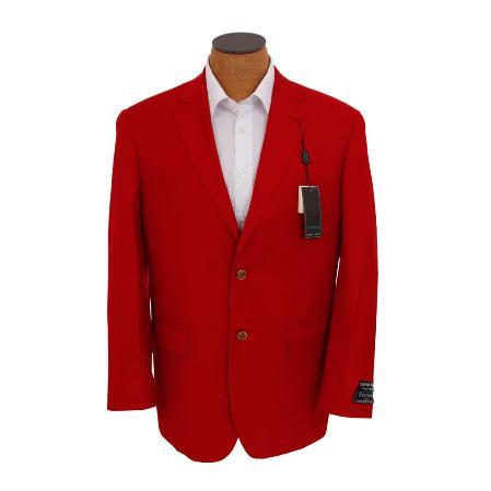 Mens Solid Red Sport Coat Jacket Blazer