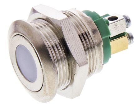 APEM Single Pole Single Throw (SPST) Momentary Green LED Push Button Switch, 19.2 (Dia.)mm, 250V ac