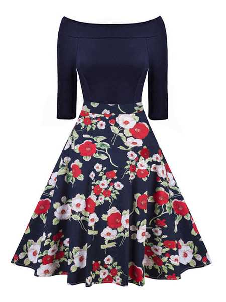 Milanoo Floral Vintage Dress Off The Shoulder Retro Midi Dress