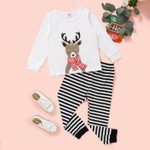 Conjunto de pijama camiseta con estampado de Navidad con pantalones de rayas