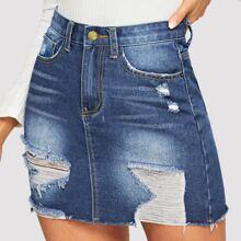 5-pocket Ripped Detail Bodycon Denim Skirt