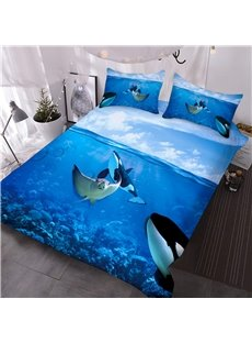 Manta Ray and Orcas in Ocean 3D Printed 3-Piece Comforter Sets