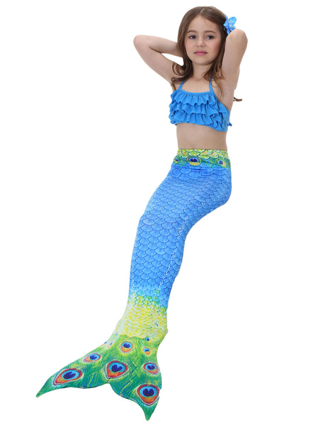 Milanoo Mermaid Tail Costumes Kids Peacock Blue Little Girls Bathing Swimming Suit Halloween