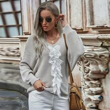 Pullover mit Kontrast Spitze und Fledermausaermeln