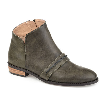 Journee Collection Womens Harlow Stacked Heel Booties, 9 Medium, Gray