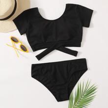 Ribbed Crisscross Hem Tee Bikini Swimsuit