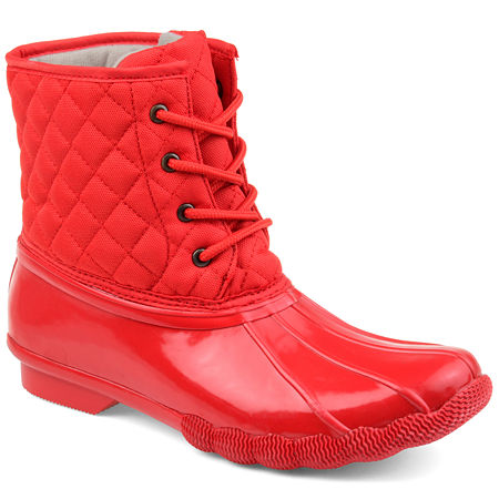 Journee Collection Womens Chill Water Resistant Snow Block Heel Lace-up Boots, 7 1/2 Medium, Red