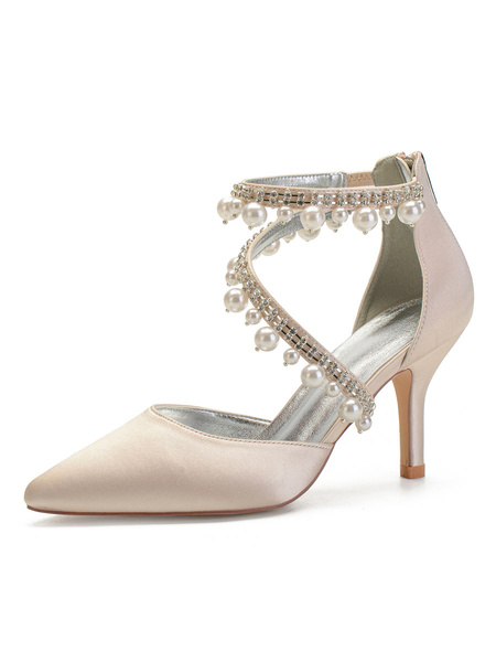 Milanoo Wedding Shoes Silver Satin Pearls Pointed Toe Stiletto Heel Bridal Shoes