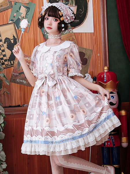 Milanoo Sweet Lolita OP Dress Milk Sweetheart Printed Lace Bows Short Sleeves Lolita One Piece Dresses