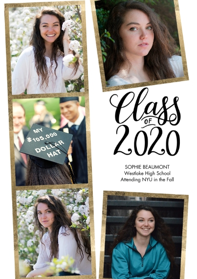2020 Graduation Announcements 5x7 Cards, Premium Cardstock 120lb with Scalloped Corners, Card & Stationery -2020 Gold Frames Collage by Tumbalina