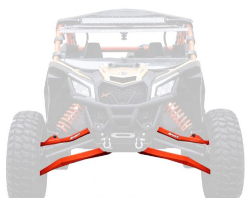 SuperATV AA-CA-X3RS-001-BX-BH-14 High Clearance Boxed Front A Arms w/HD Ball Joints Red 72 Inch Wide Can-Am Maverick X3 X RC Turbo R 2018+
